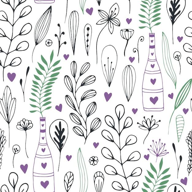 Patrón floral de vector con doodle flores y hojas. impresión de la ...