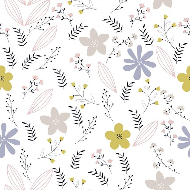 Patrón floral vector en estilo doodle Vector Premium