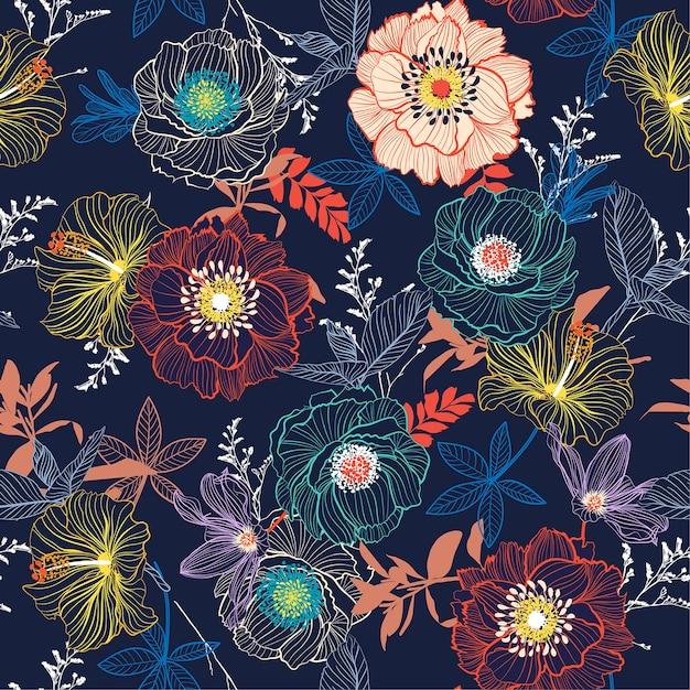 Patrón floral Vector Premium