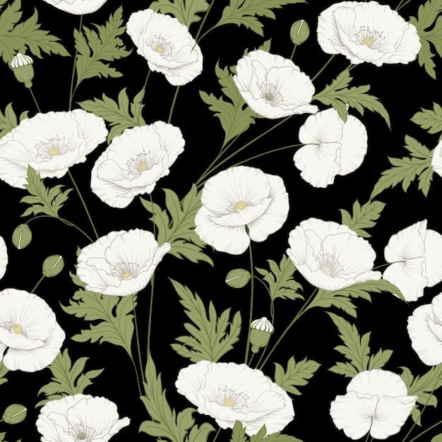 Patrón de flores de amapola. Vector Premium