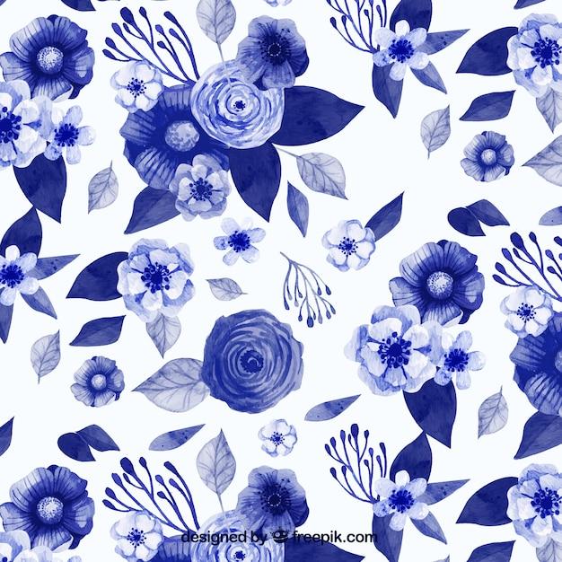 Patron De Flores Azules De Acuarela En Estilo Vintage Descargar