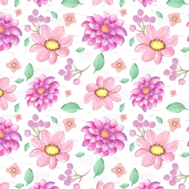 Patrón de flores de color rosa acuarela vector gratuito