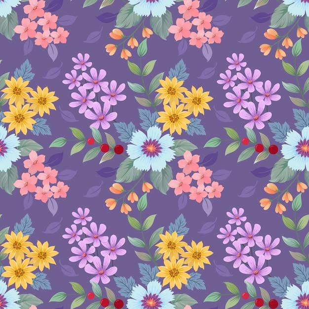Patrón de flores de colores dibujados a mano. Vector Premium