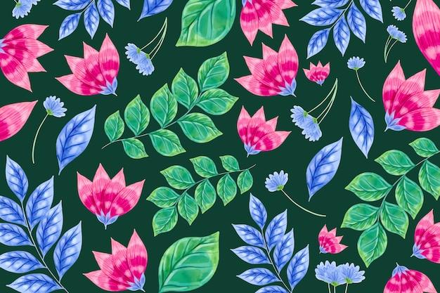 Patrón de flores coloridas y hojas tropicales vector gratuito