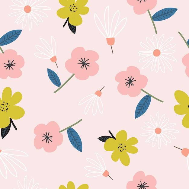 Patrón de flores dibujadas mano linda inconsútil Vector Premium
