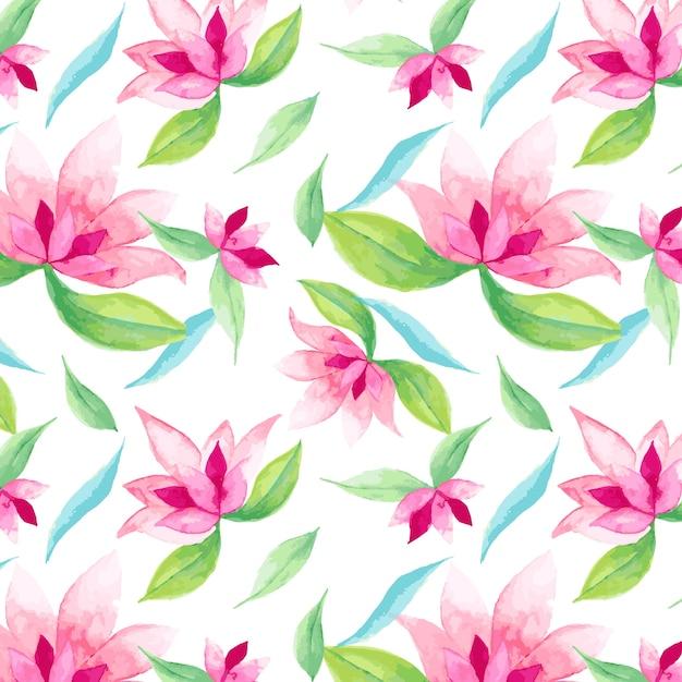 Patrón De Flores Y Hojas De Color Rosa Vector Premium