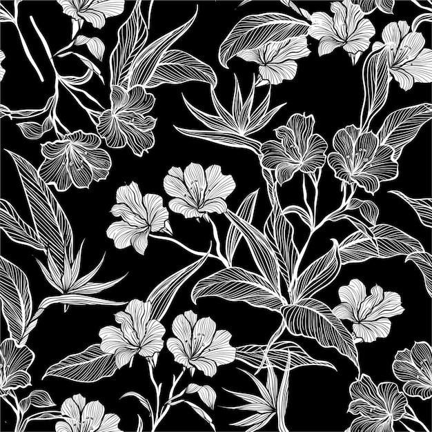 Patrón de flores y hojas dibujadas a mano incoloras Vector Premium