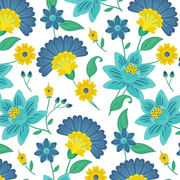 Patrón de flores y hojas exóticas pintadas de colores vector gratuito