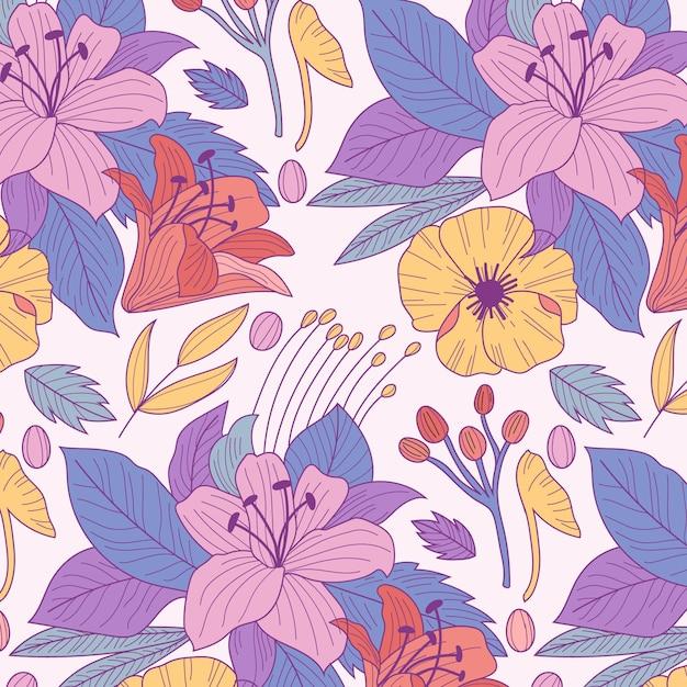 Patrón con flores y hojas Vector Premium