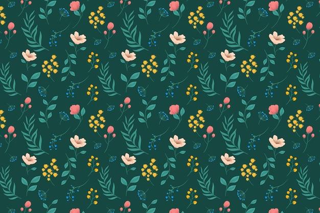 Patrón con flores y hojas vector gratuito