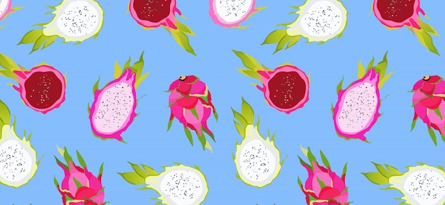 Patrón de fruta de dragón en azul. frutas exóticas sobre un fondo azul vibrante. comida hawaiana. alimentación saludable. patrón ilustrado de moda de frutas de verano. hermoso para fondos de pantalla, web, aplicación. Vector Premium