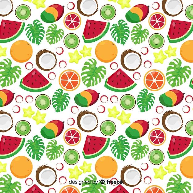 Patrón fruta tropical dibujados a mano vector gratuito