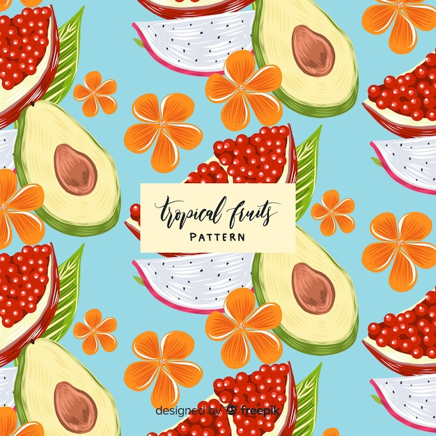 Patrón fruta tropical realista dibujado a mano vector gratuito