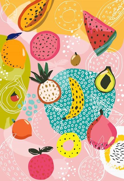 Patrón de fruta tropical Vector Premium