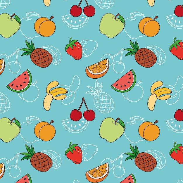 Patrón de frutas con cerezas y manzanas. Vector Premium