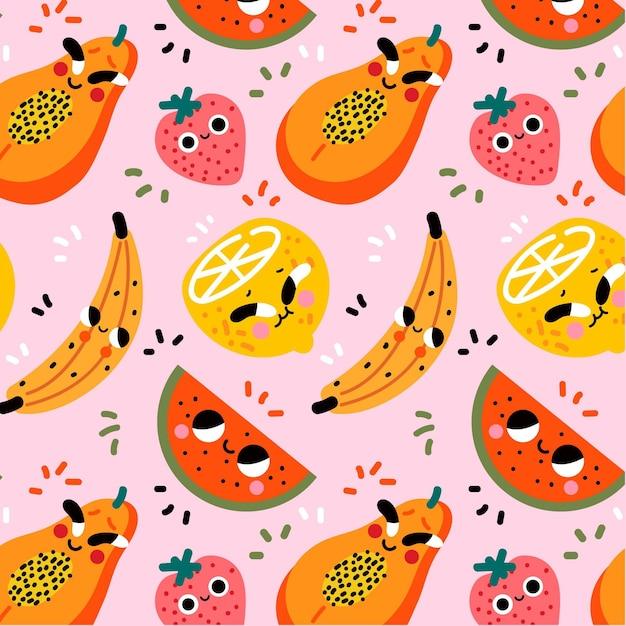 Patrón de frutas coloridas vector gratuito