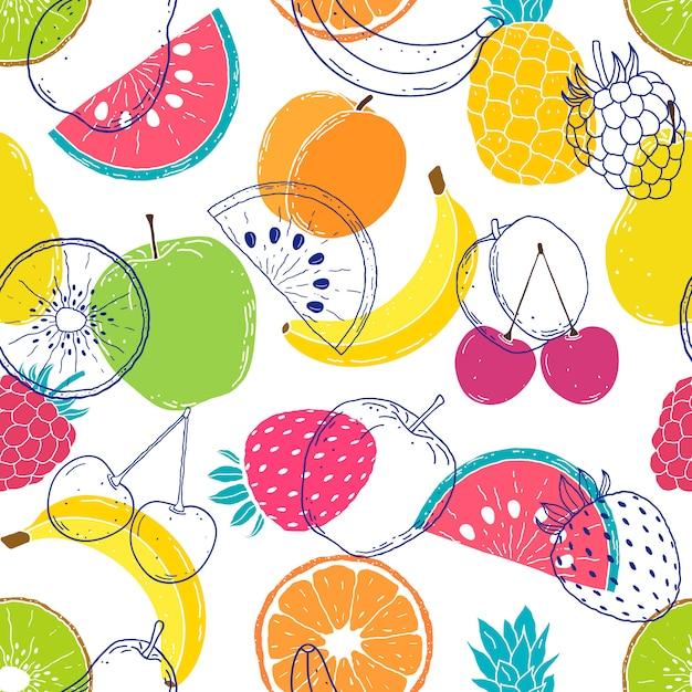Patrón con frutas coloridas Vector Premium