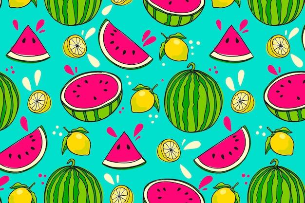 Patrón de frutas dibujadas a mano con sandía Vector Premium