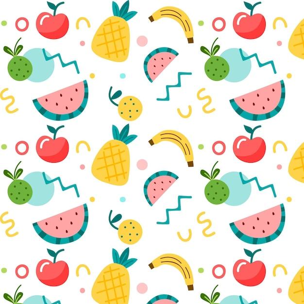 Patrón de frutas establece tema vector gratuito