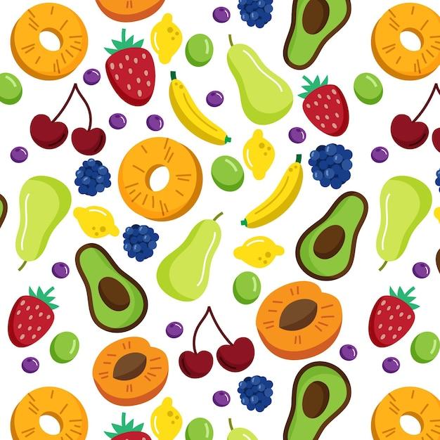 Patrón de frutas con fresas vector gratuito