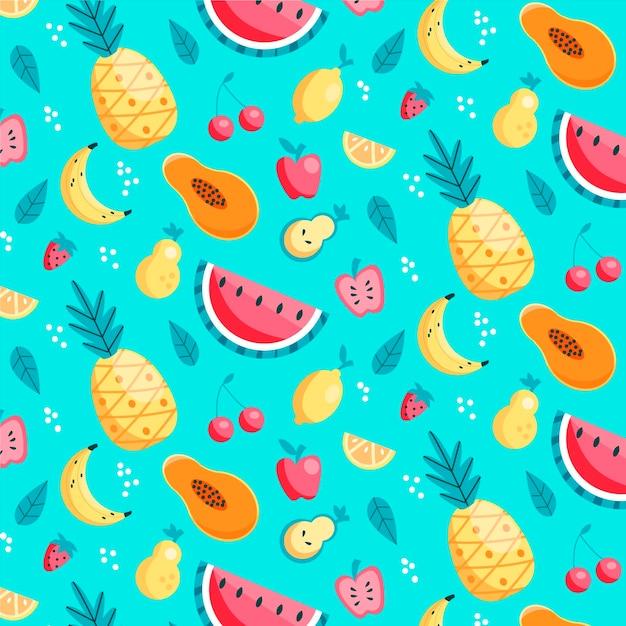 Patrón de frutas con piñas Vector Premium