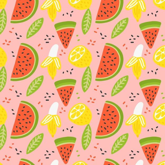 Patrón de frutas con rodajas de sandía vector gratuito