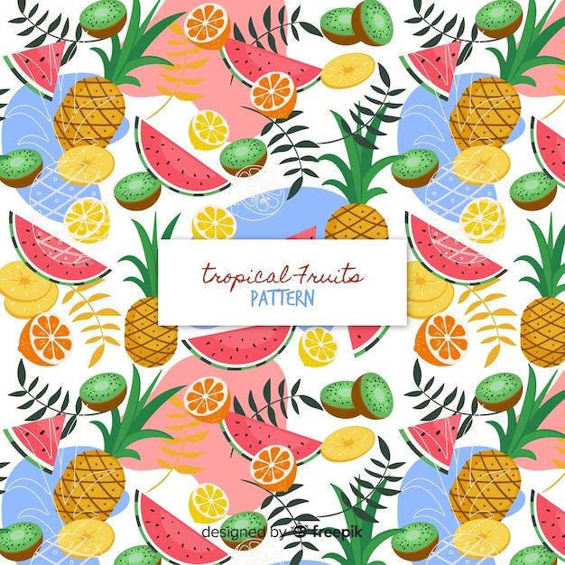 Patrón frutas tropicales colorido vector gratuito