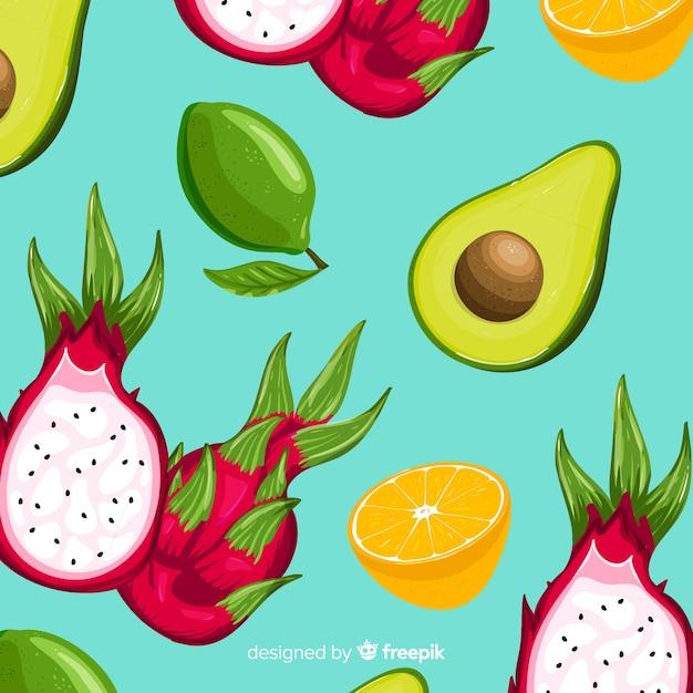 Patrón frutas tropicales dibujadas a mano vector gratuito