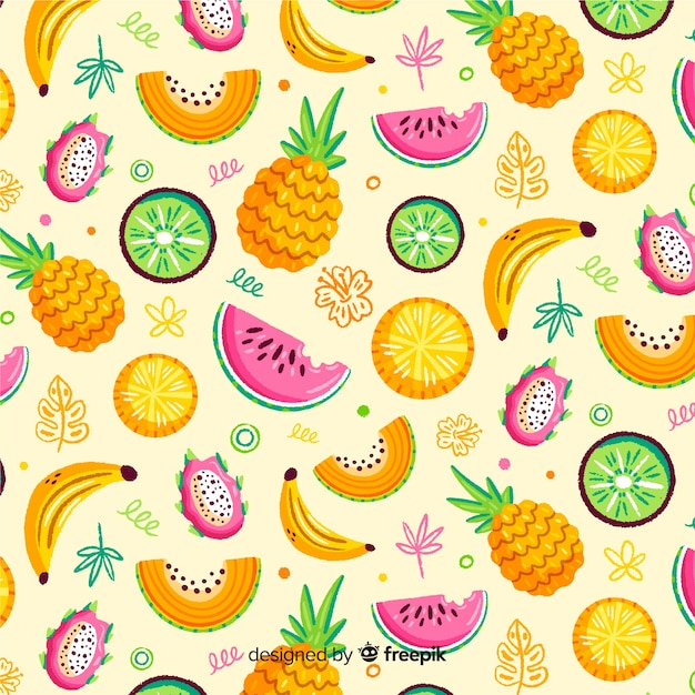 Patrón frutas tropicales dibujadas a mano Vector Premium