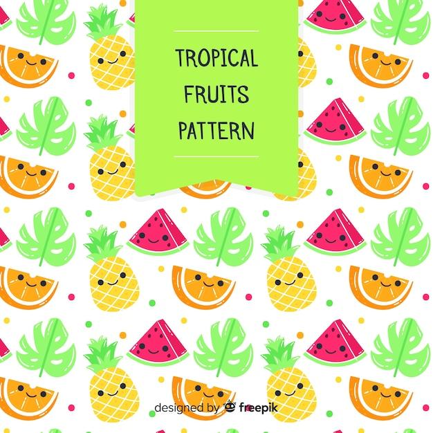 Patrón frutas tropicales kawaii vector gratuito
