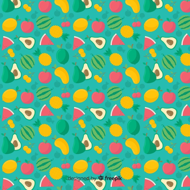 Patrón frutas tropicales planas vector gratuito