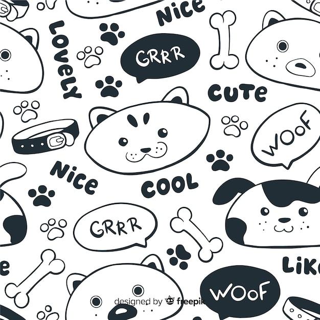 Patrón garabatos animales y palabras sin color vector gratuito