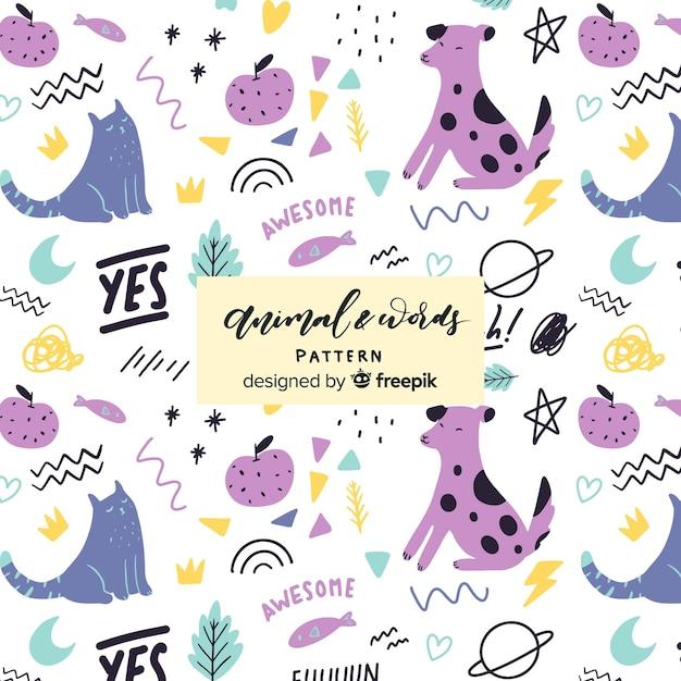 Patrón garabatos animales y palabras coloridos vector gratuito