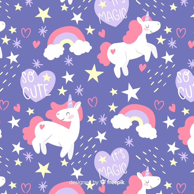 Patrón garabatos coloridos unicornios y palabras vector gratuito