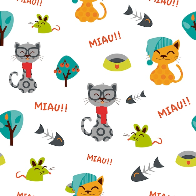 Patrón de gatos divertidos con sombreros. | Descargar Vectores Premium