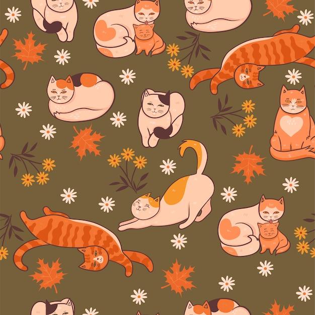 Patrón con gatos, flores y hojas. estado de ánimo de otoño. gráficos. Vector Premium