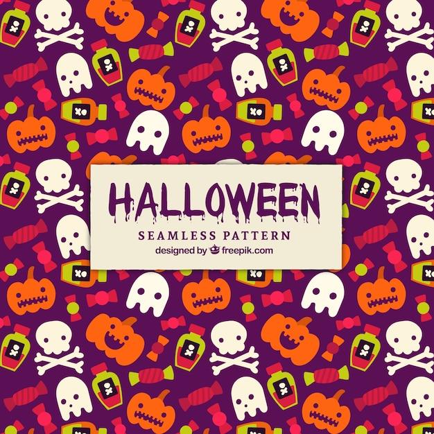Patrón de halloween con fantasmas y calabazas vector gratuito