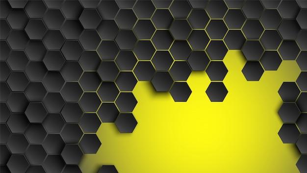 Patrón hexagonal fondo abstracto y papel tapiz geométrico con forma de portada web Vector Premium