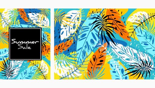 Patrón de hojas de color tropical Vector Premium