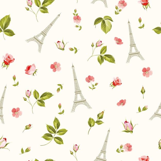 Patrón con hojas de flores rojas y torre eiffel. vector gratuito