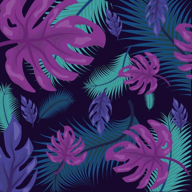Patrón de hojas tropicales vector gratuito