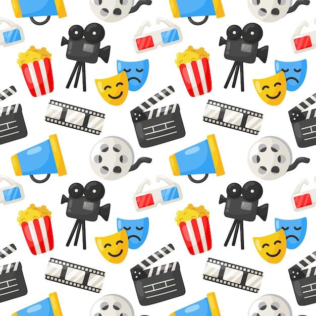 Patrón de iconos de cine sin fisuras. icono de colección de signos y símbolos Vector Premium