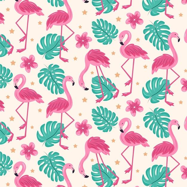 Patrón ilustrado de pájaro flamenco rosado con hojas tropicales Vector Premium