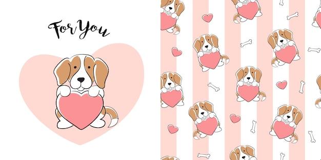 Patron inconsútil beagle dibujado a mano Vector Premium