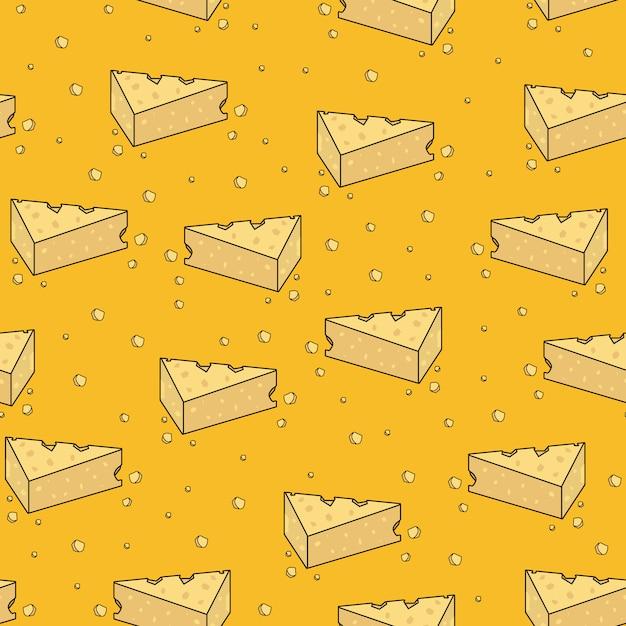 Patrón inconsútil de dibujos animados lindo queso amarillo Vector Premium