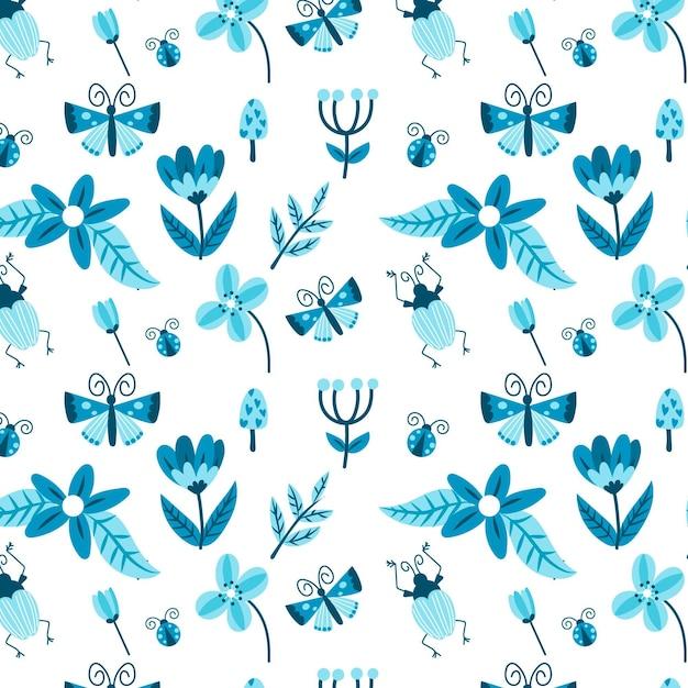 Patrón de insectos y flores. vector gratuito