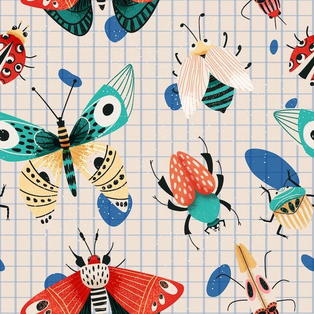 Patrón de insectos de verano con escarabajos, polillas y mariposas. Vector Premium
