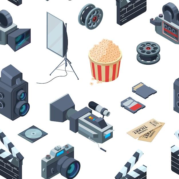 Patrón isométrico cinematográfico o ilustración Vector Premium