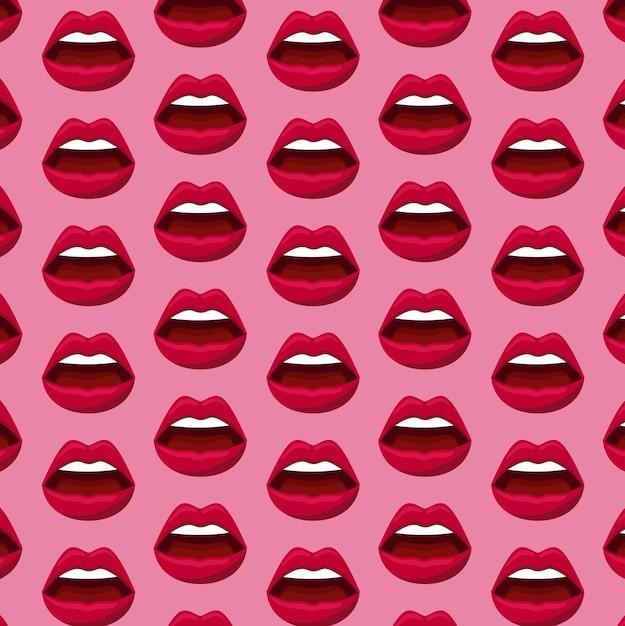 Patrón de labios femeninos de sensualidad. vector gratuito