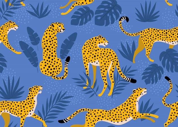 Patrón de leopardo con hojas tropicales. vector transparente Vector Premium
